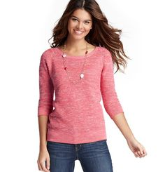 Marled 3/4 Sleeve Cotton Sweater - LOFT