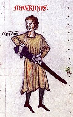 Hiberno-Normans -  Maurice FitzGerald, Lord of Lanstephan, progenitor of the Irish FitzGerald dynasty, from a manuscript of the Expugnatio Hibernica, an account of the 1169 invasion of Ireland written by Maurice's nephew, Gerald of Wales, in 1189.  Maurice FitzGerald, Lord Lanstephan as shown in a manuscript of the Expugnatio Hibernica, written in 1189 by his nephew, Gerald of Wales