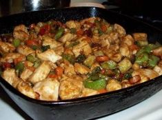 Ingredients: 4 boneless, skinless chicken breasts, cubed Tbsp cornstarch 1 Tbsp soy sauce 3 Tbsp peanut oil 1 green bell pepper, sliced 4 mushrooms, sliced… USE: Chinese Chicken Recipes, Asian Recipes, Healthy Recipes, Yummy Recipes, Recipe Tasty, Quick Recipes, Chicken Meals, Savoury Recipes, Asian Food Recipes