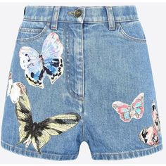 Valentino Shorts In Embroidered Denim ($1,260) ❤ liked on Polyvore featuring shorts, bottoms, blue, colorful shorts, blue denim shorts, zipper shorts, mid rise denim shorts and multi colored shorts