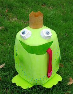 Frog Prince Storage/Valentine Holder Made From Milk Jug