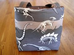 Large Tote Bag - Dinosaur Brotosaurus Stegosaurus Pterodactyl T-Rex Strata Layers - 100% COTTON Rockhound Lapidary Earth Science REVERSIBLE with Pocket! Available on www.MaliakeiBags.com