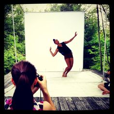 Abraham.In.Motion's Rena Butler in the Natural Light Studio at Jacob's Pillow  with participants from 'The Art of Photographing Dance' workshop.  Photo by Christopher Duggan