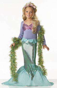 Little Ariel Disney Child Mermaid Girl Dress Up Costume