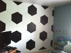 Turning my 7 year olds room into a Soccer Room. Part 1: paint the wall...Finished