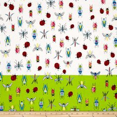 Alexander Henry June Bug Tropical Types Single Border Natural/Green - Discount Designer Fabric -  Fabric.com