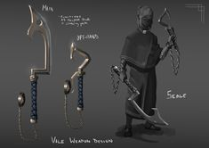 """Vale"" Personal Piece (Weapon Concept) by Grommy ArtWeapon/Tool concept for a personal project meant to function both as a khopesh blade and a climbing tool Ninja Weapons, Sci Fi Weapons, Weapon Concept Art, Fantasy Weapons, Character Creation, Character Design, Climbing Tools, Armas Ninja, Ninja Art"