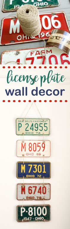 This license plate wall decor was so easy to make using rope and five Antique license plates.  I love the personal touch it adds to my boy's room.  #diy #licenseplate #antique #create
