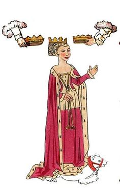 """Anne Neville, from the Rous Rolls, 15th century. """"...to the most high trone and honour all other ladys of this nobyll realme anoyntyd and crownyd Quene of Ynglond, wife unto the moost victoryus kynge Rychard the Thryd"""". - John Rous, writing about Anne"""