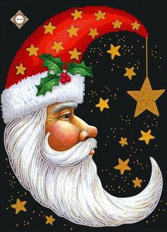 Toland Home Garden Santa Moon 28 x 40 Inch Decorative Winter Christmas Holiday Celestial Star House Flag Noel Christmas, Father Christmas, Winter Christmas, Christmas Ornaments, Vintage Christmas Crafts, Vintage Christmas Images, Christmas Countdown, Christmas Christmas, Christmas Greetings