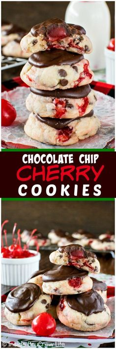 Chocolate Chip Cherry Cookies - these soft cookies are packed with chocolate and cherry goodness.  This treat is the best recipe for holiday cookie trays!