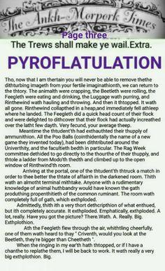 The Ankh-Morpork Times, The Trews shall make ye wail.  Extra. PYROFLATULATION. page three. by David Green.