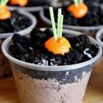 Dirt pudding cups w/icing carrots!