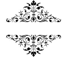 Black and White Damasks: Free Printable Toppers and Labels. Motif Oriental, Foto Transfer, Wedding Ornament, White Damask, Damask Wall, Borders And Frames, Gifts For Office, Blogger Templates, Botanical Prints