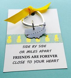 Best Friend, Best Friend Keychain, Personalized United States Keychain, Long Distance Key Chain, Friends, Moving Away Gift, Friends Quote