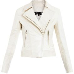 love me some Theory......  Theyskens' Theory Javda white leather biker jacket  ❤ liked on Polyvore