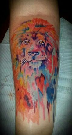 Watercolor lion tattoo by Jeremy D'Agostino