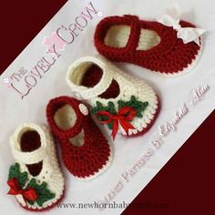 Crochet Child Booties Christmas Crochet Patterns | Free   Crochet Baby Booties