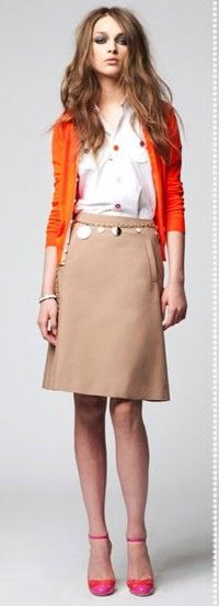 Warm Spring Work  Seasonal Color Analysis Blog: Warm Spring Casual -Terracotta, camel and and golds are great basic colors for you. Add orange red, light peach or kelly green for an extra edge.