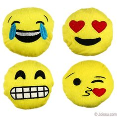 MINI PLUSH EMOJIS. With adorable emoji smiley faces embroidered on super-soft velvet. Assorted styles. These make the perfect gifts for Mother's Day, Valentine's Day and Father's Day. Also ideal for Easter basket treats and party favors. Size 5 Inches