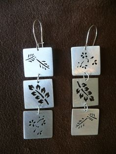 Three Square with Leaf Earrings via Etsy