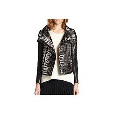 Diane von Furstenberg Calf Hair & Leather Moto Jacket ($640) ❤ liked on Polyvore featuring outerwear, jackets, black, genuine leather jackets, rider jacket, moto jackets, leather rider jacket and leather biker jacket