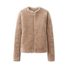 WOMEN Fluffy Fleece Long Sleeve Collarless Jacket