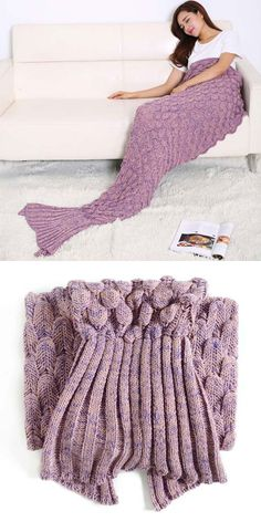 knitted mermaid tail blanket --- such a pretty pinkish-purple color