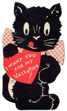 1930s Valentine black cat