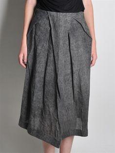 BLACK CELEBRATION - Tuckled Linen Skirt