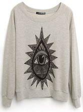 #sheinside  Grey Long Sleeve Eye Print Loose Sweatshirt $36.48