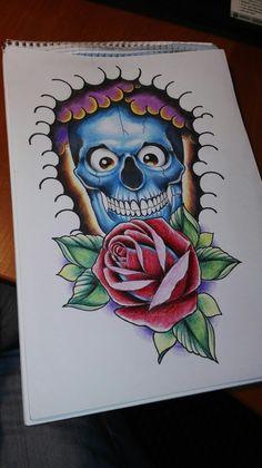 Skull rose sketch
