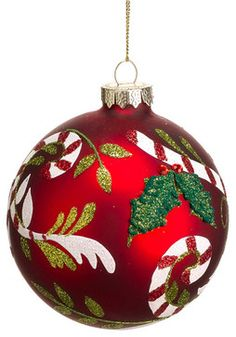 Glittered Red & Green Baubles - 9 x 60mm | A Traditional Christmas ...