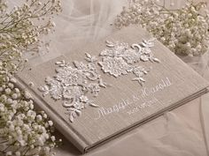 Wedding Guest Book Guestbook Lace Shabby Chic by 4LOVEPolkaDots, $55.00