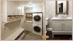 Cabinets: Showplace cabinetry improves a laundry room and guest bath.