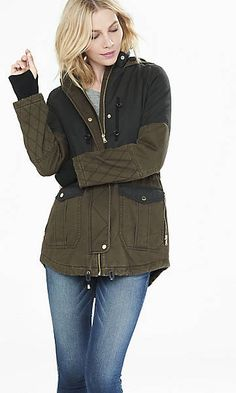 brown and black quilted parka