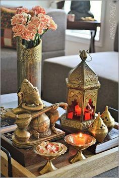 Brass artifacts Diwali D cor Fall Fall D cor Ganesha vignettes Indian Home Indian home d cor Indian brass vignette Indian Home Interior, Indian Interiors, Luxury Homes Interior, Interior Design, Ethnic Home Decor, Indian Home Decor, Indian Inspired Decor, Diwali Decorations At Home, Table Decorations