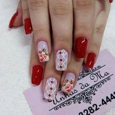 Unhas Vermelhas com Joias Long Nail Art, Long Nails, My Nails, Edgy Nail Art, Beautiful Nail Polish, Beautiful Nail Designs, Avon Crystal, Finger, Snowflake Nails
