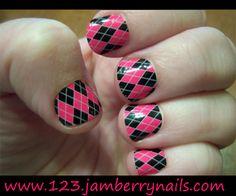 Black & Pink Argyle Jamberry Nail Shields.