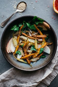 Fennel-roasted carrot and shallot salad with shaved apples