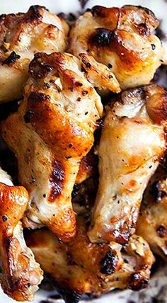 Honey Mustard Chicken Wings ~ Meaty chicken wing drummettes, marinated in garlic, honey, Dijon, soy sauce, and lemon juice