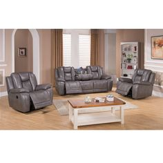 Galaxy Gray Top Grain Leather Lay Flat Reclining Sofa and Two Recliner Chairs - Overstock Shopping - Big Discounts on Living Room Sets