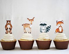 12 Woodland Cupcake Toppers, Woodland Animal Cupcake Toppers, Woodland Baby Shower, Woodland Birthday decor HM111