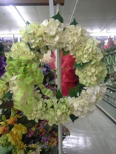 Green scheme hydrangea wreath
