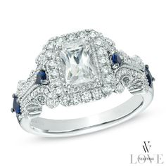 Vera Wang LOVE Collection 1-1/6 CT. T.W. Emerald-Cut Diamond and Blue Sapphire Scroll Ring in 14K White Gold - View All Rings - Zales