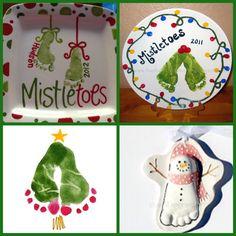 Footprint mistle-toes keepsake ideas. Christmas, kid, child, baby, first, print, DIY, craft