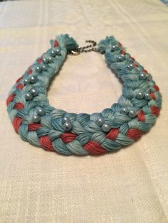 Necklace. Blue-green