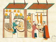 Merchants with their stalls in the bazaar in Constantinople, miniature from Turkish Memories, Arabic manuscript, Cicogna Codex, Turkey 17th Century.