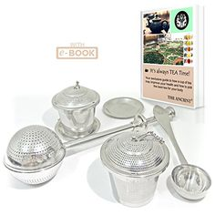 The Ancient Tea Infusers Set of 3 Stainless Steel Loose Leaf Tea Infuser Baskets Long Handle Tea Ball Strainer with Tea Scoop and Drip Trays Best Teaware for a Superior Brewing Experience *** Read more at the image link. Tea Strainer, Tea Infuser, Matcha Green Tea Powder, Drip Tray, Serving Utensils, Loose Leaf Tea, Iced Tea, Brewing, Trays