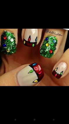 Christmas nails. I like the christmas lights with french tips :)